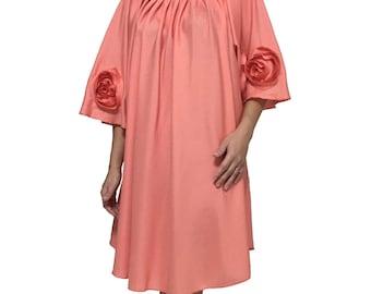 Elegant pleated neckline tunic plus size 2L 3XL 4XL salmon pink orange