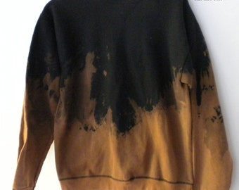 Black Sweatshirt, Ombre sweatshirt, Crewneck Sweatshirt, acid wash, dip dye, tie dye, grunge, punk, rocker, Gold, Cyber Monday,Gift under 40