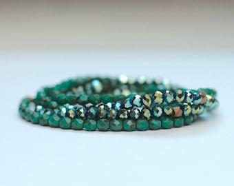 spring birthday gift / SET of 5 layering bracelets / turquoise glass boho skinny bracelets / skinny stacking bracelets / stretch bracelets