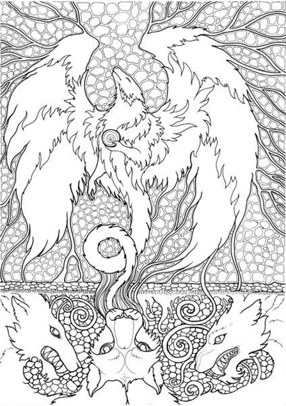 Printable Coloring Pages Zen : Adult coloring page fantasy beast dragon doodle printable