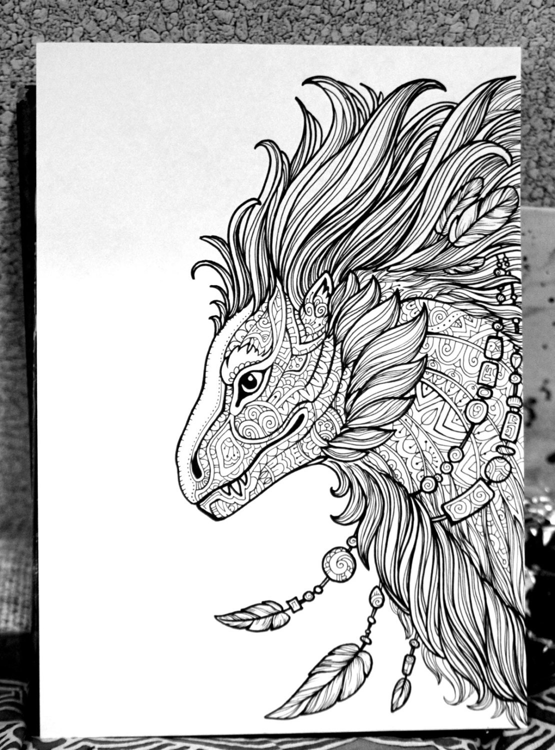 Adult Coloring Page Fantasy Animal