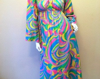 60s Laugh-In Hippie Dress Size Small. Long Rainbow Maxi Dress. Mod Psychedelic Dress S. Festival Peasant Dress. Turquoise Hot Pink Dress 4 6