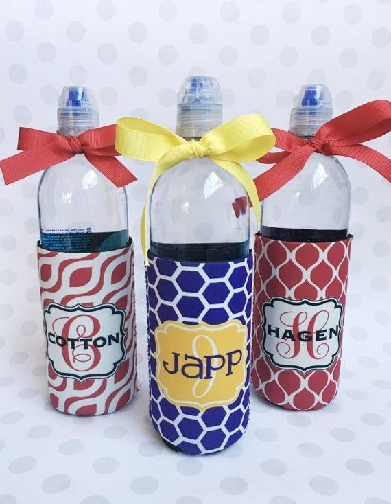 Custom Water Bottle Sleeve Monogram Personalized Bottle Holder Insulator for 16.9 Oz Water Bottles Teacher Gift Monogrammed Coworker Gift