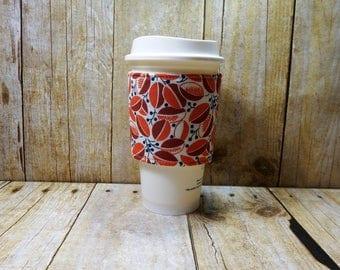Fabric Coffee Cozy / Walnut Orange Coffee Cozy / Coffee Cozy / Tea Cozy