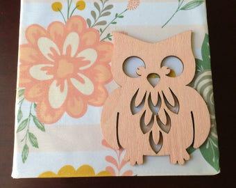 Pink Floral Owl - Large