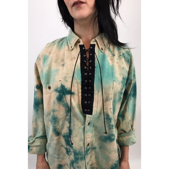 Remade Vintage Lace Up Tiedye Shirt Large XL - 90's Bleached Tiedye Grunge Flannel Shirt - Slouchy Baggy Green Laceup Grommets Bleach Top