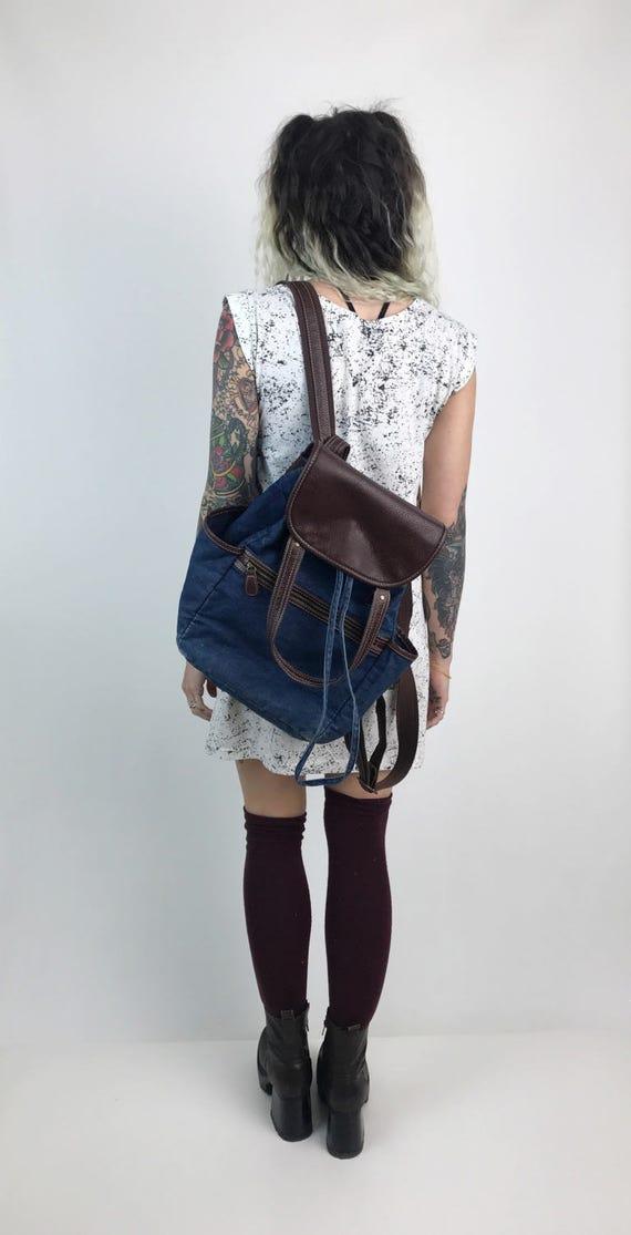 Denim Back Pack Tote Bag - Dark Denim Large Backpack With Top Handles - Preppy Basic School Bag College Backpack Brown Vegan Leather Bookbag