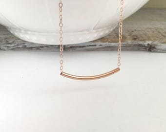 Rose Gold Curved Bar Necklace, 14k Rose Gold Filled Curved Bar Necklace, 14k Rose Gold Filled Tube Necklace, Layering Necklace