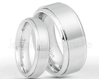 White Titanium Rings, 6mm & 9mm Titanium Wedding Band Set, Satin Finish Stepped Edge Comfort Fit Bride and Groom Wedding Rings TM544-543