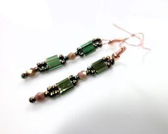 Long green olive earrings of Tila beads fire polished glass beads