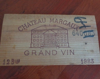 Vintage French Wood Wine Crate End Panel Chateaux Margaux Grand Vin 1983