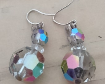 Vintage faceted glass bead drop earrings