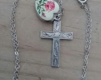 Vintage sterling silver cross and silver rose heart pendant and chain