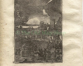 1719 Manesson Mallet Comets, Comet, Sunset, Celestial Astronomy, Antique Print