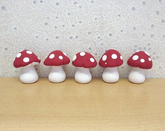 Miniature Fairy Toadstools, Fairy Decor, Fairy Door Accessories, Clay Mushrooms, Dollhouse Miniature, Set of 5, Red