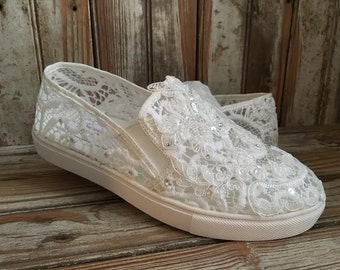 Bridal Sneaker Beaded All Lace sneaker Slip on Lace Covered Sneaker