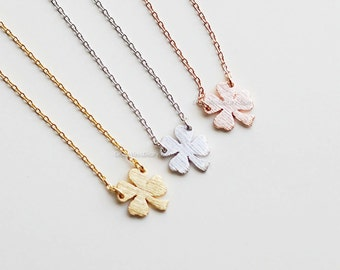 Four Leaf Clover silver Necklace- Sweet and Simple Shamrock for Good Luck, wedding gifts, bridesmaid gifts, birthday gifts, gift idas