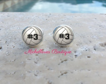 Monogram Volleyball Earrings,Studs,Volleyball Jewelry,Volleyball Accessories,Personalized Volleyball,Gifts for Her,Gifts under 10,MB326