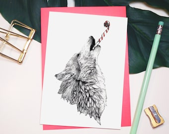 Wolf Greetings Card // Party A6 Blank Card