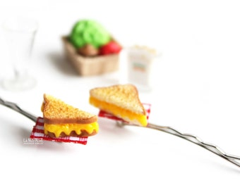 Grilled Cheese Sandwich Hair Pin Women Accessories Bobby Pin Silver Hair Clips Triangle Accessories, Hair Jewelry, girls accessories