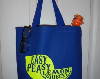 Royal Blue Lemon Heavy Duty Canvas Tote Bag