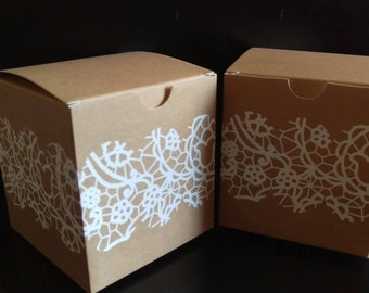 10 x Kraft boxes, hessian and lace, favour boxes, cupcake boxes, bomboniere, wedding favors, rustic wedding, cake boxes, DIY wedding