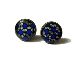 ROYAL BLUE EARRINGS - Tribal Earrings - Stud Earrings - Native Jewelry - Ethnic Earrings - Aztec Earrings - blue stud earrings