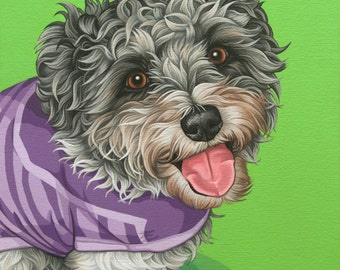 Custom Pet Portrait Hand Painted, 14x20 Mixed Breed Dog Painting, Portrait of Your Adorable Mutt, Gift for Wife, Perfect Gift for Dog Lover