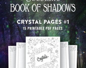 Crystal Pages Set 1: Printable Coloring Book of Shadows Grimoire PDF
