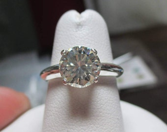 Engagement Style 1.67ct Stunning Moissanite Solitaire Sterling Silver Ring-Super Brilliant Round Moissanite!