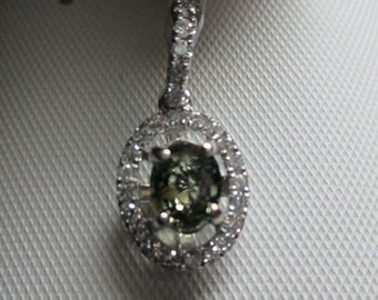 Impressive Clean .50ct Natural Alexandrite & .18ct Diamond 14kt White Gold Pendant-Layaway Available
