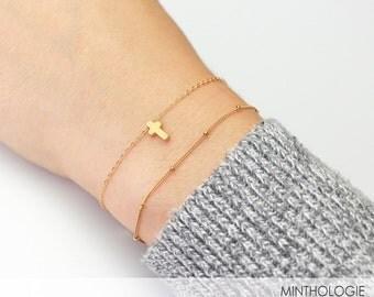 Tiny Cross Bracelet B24 • Gold Cross Bracelet, Layering Bracelet, Christian Jewelry, Cross Bracelet, Dainty Jewelry, Tiny Cross Bracelet