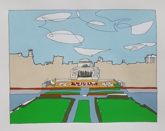 COLUMBIA UNIVERSITY, Medium (Color):Hand Painted  Framed and Signed Edition of 50 by Jason Oliva Art Painting Print Picture Gift
