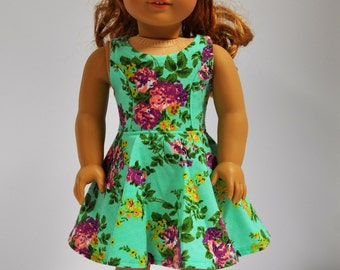 18 Inch Doll Clothes Teal Purple and Yellow  Floral Print Sleeveless Skater Dress