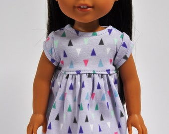 Lavender Purple Triangle Print Short Sleeve  Dress made to fit Wellie Wishers Doll Clothes  14.5 Inch Doll Clothes
