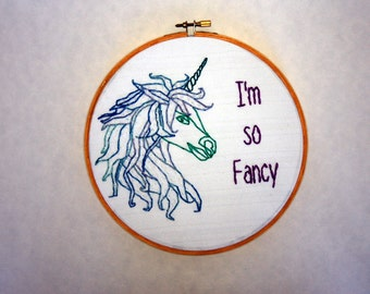 Sassy Hoop Art - Unicorn - I'm So Fancy - Iggy Azalea - 8 Inch hoop - Inappropriate Animals series