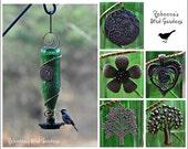 """Glass Bottle Birdseed Bird Feeder ~ """"The Bistro"""" - Unique Bird Feeder - Glass Bird Feeder"""