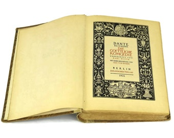 The Divine Comedy by Dante. Half Leather Bound Antique German Book. Antique book in German.