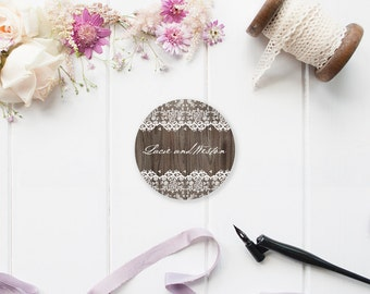 Rustic Wood and Lace Custom Wedding Invitation or Favor Stickers