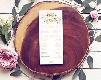 Pink and Gold Floral Wedding Programs - Printable or Printed