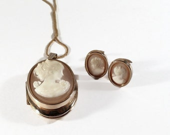 Vintage Cameo Locket Necklace and Earrings Set