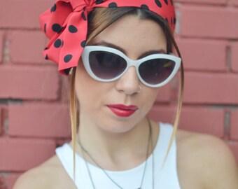 Head Scarf, Red with Black Polka Dots Rockabilly, Pin Up Headscarf, Headband Bandanna, Boho Head Scarf, Head Bow, Retro Head Scarf, Headband