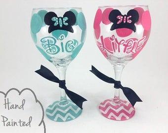 SET OF 2 - Free Personalization - Sorority Big Little Disney Minnie Mouse Wine Glass