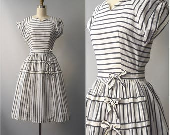1950's striped cotton sun dress with bows • xs