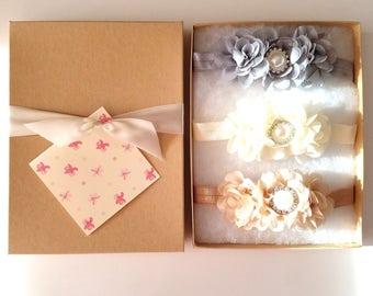 Gray Ivory Beige Baby Headband Gift Set with Chiffon Flowers, Flower Girl Headband, Toddler Headband, Baby Shower Gift
