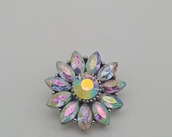 Snap Iridescent Crystal Flower Charm Snap Popper