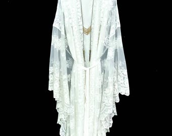 Lace kaftan robe, white lace kaftan, brides lace robe, beach cover up lace kimono robe, gift for bride, lined kimono, lace kimono,