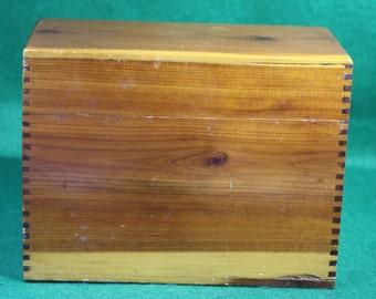 Vintage fingerjoint Cedar Recipe File Box