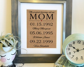 NEW My greatest blessings call me mom | Personalized Mother's Day Gift | Burlap Print | Children's names and birthdates | Frame not included