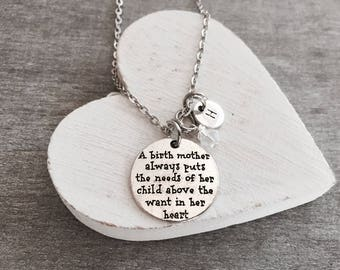 SALE, A birth Mother always, puts the needs of her, child above the, want in her heart, Silver Necklace, Silver Jewelry, Birth Mother, Gifts